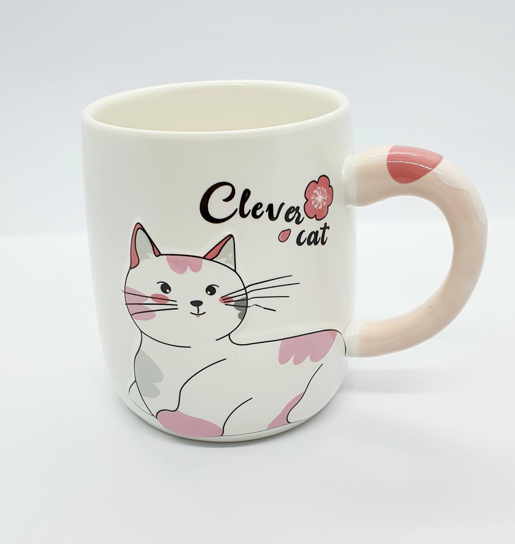 Caneca/Vaso gatinho Clever cat em cerâmica - rosa - 400ml