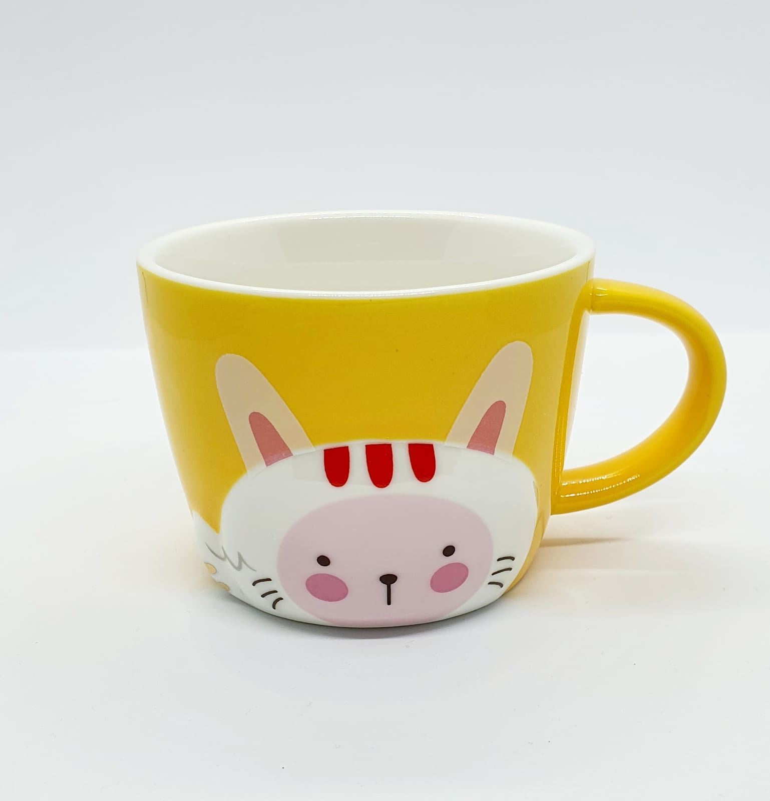 Caneca/Vaso gatinho colors amarelo em cerâmica - 200ml