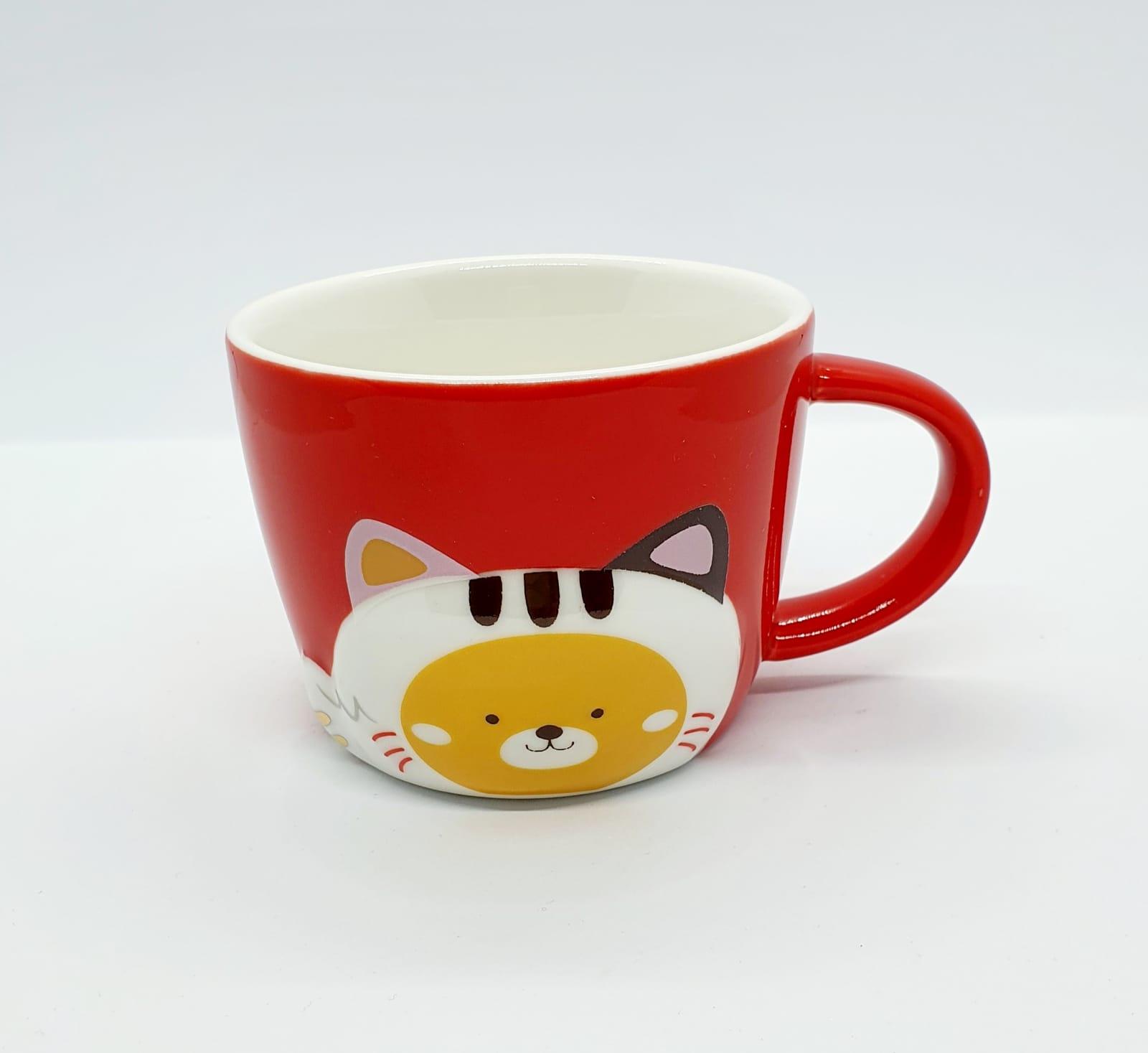 Caneca/Vaso gatinho colors vermelho em cerâmica - 200ml