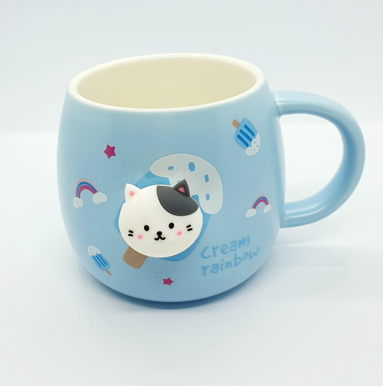 Caneca/Vaso gatinho Cream rainbow azul em cerâmica - 350ml