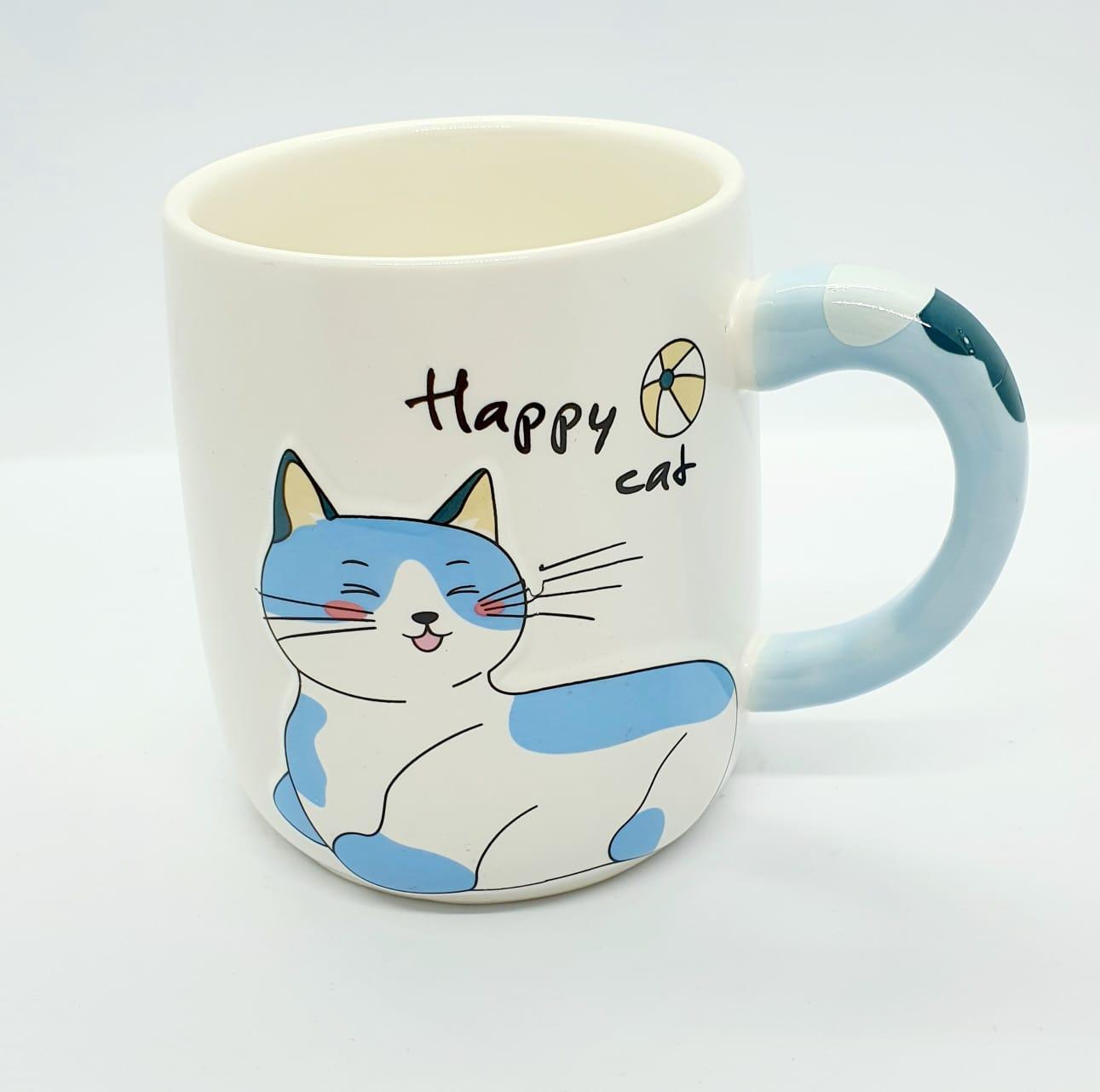 Caneca/Vaso gatinho Happy cat em cerâmica - azul - 400ml