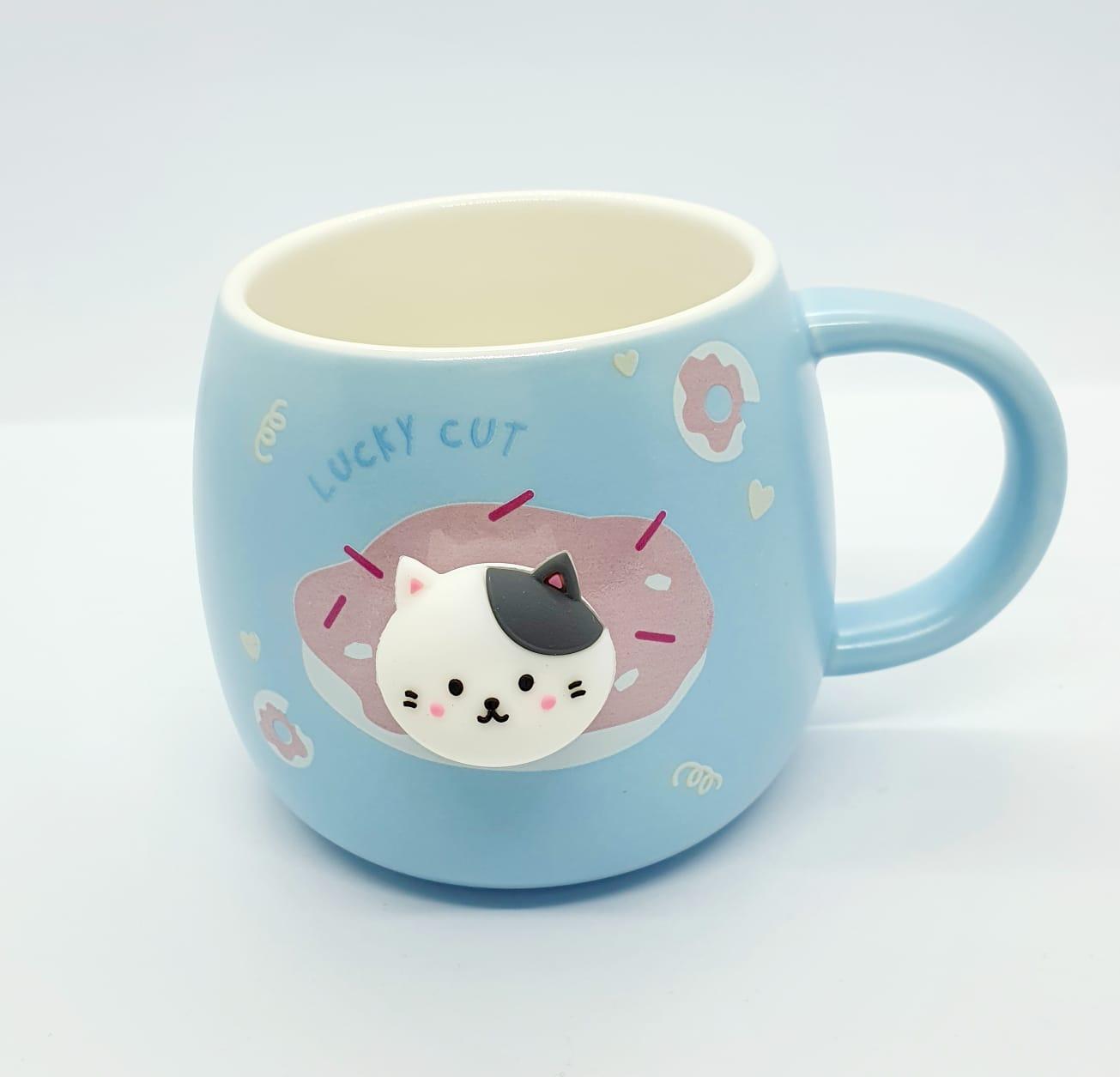 Caneca/Vaso gatinho Lucky cut azul em cerâmica - 350ml