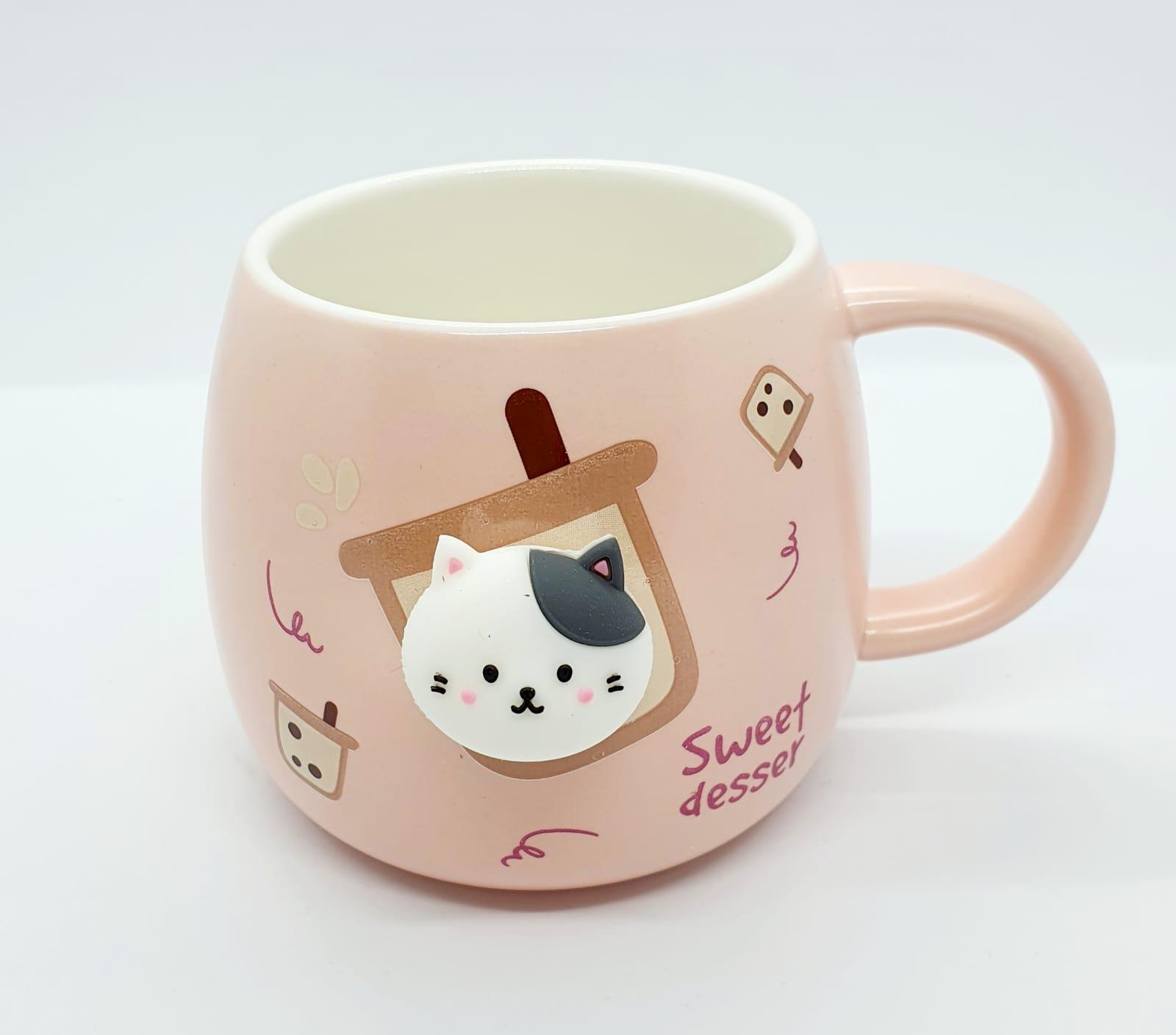 Caneca/Vaso gatinho Sweet desser rosa em cerâmica - 350ml