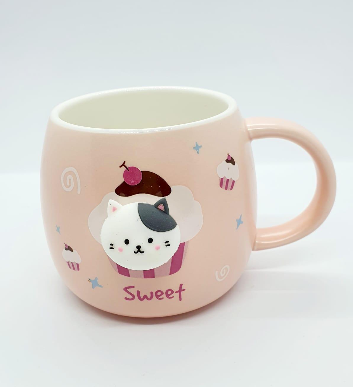 Caneca/Vaso gatinho Sweet rosa em cerâmica - 350ml