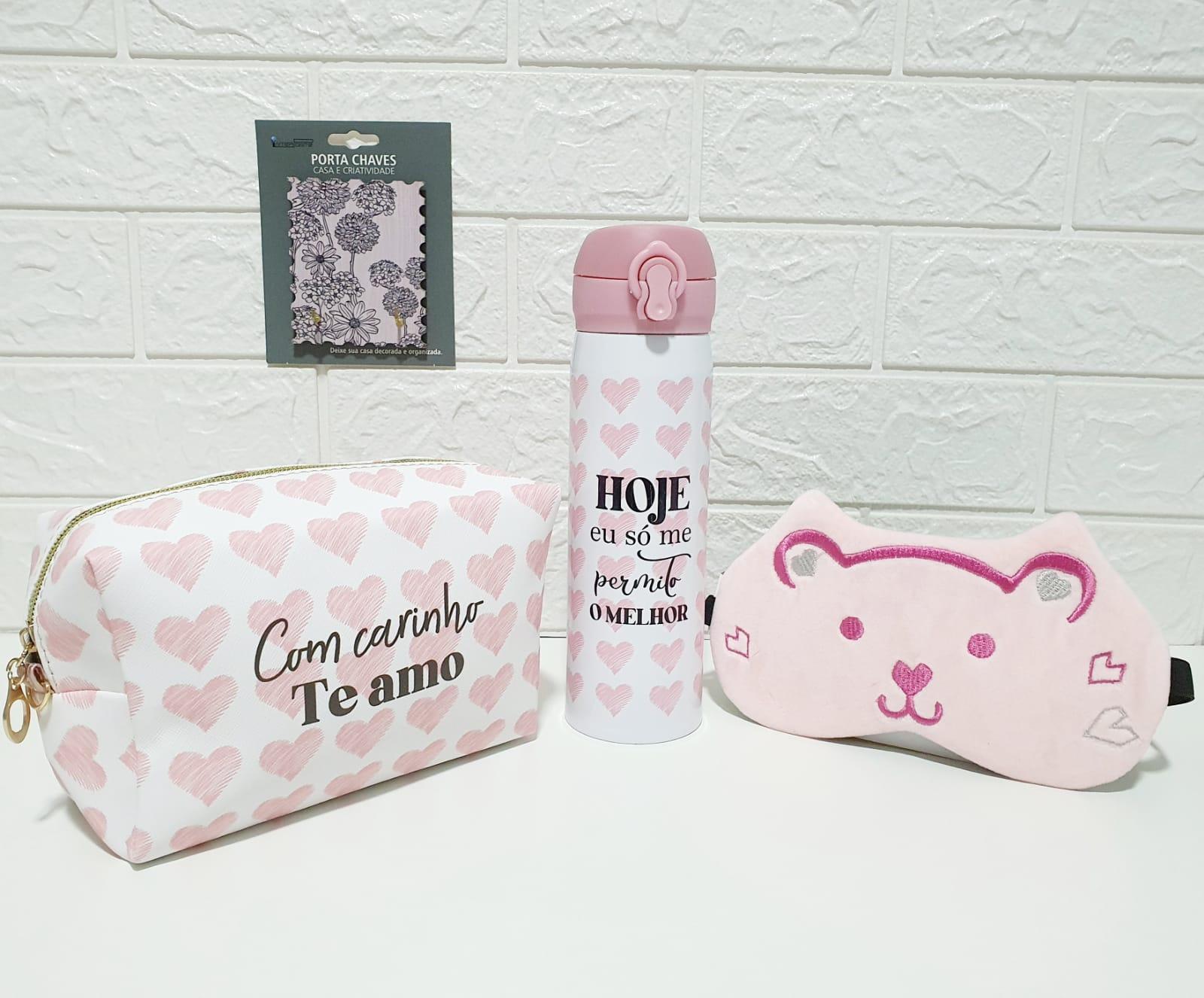 Conjunto Coração com carinho (rosa e branco)