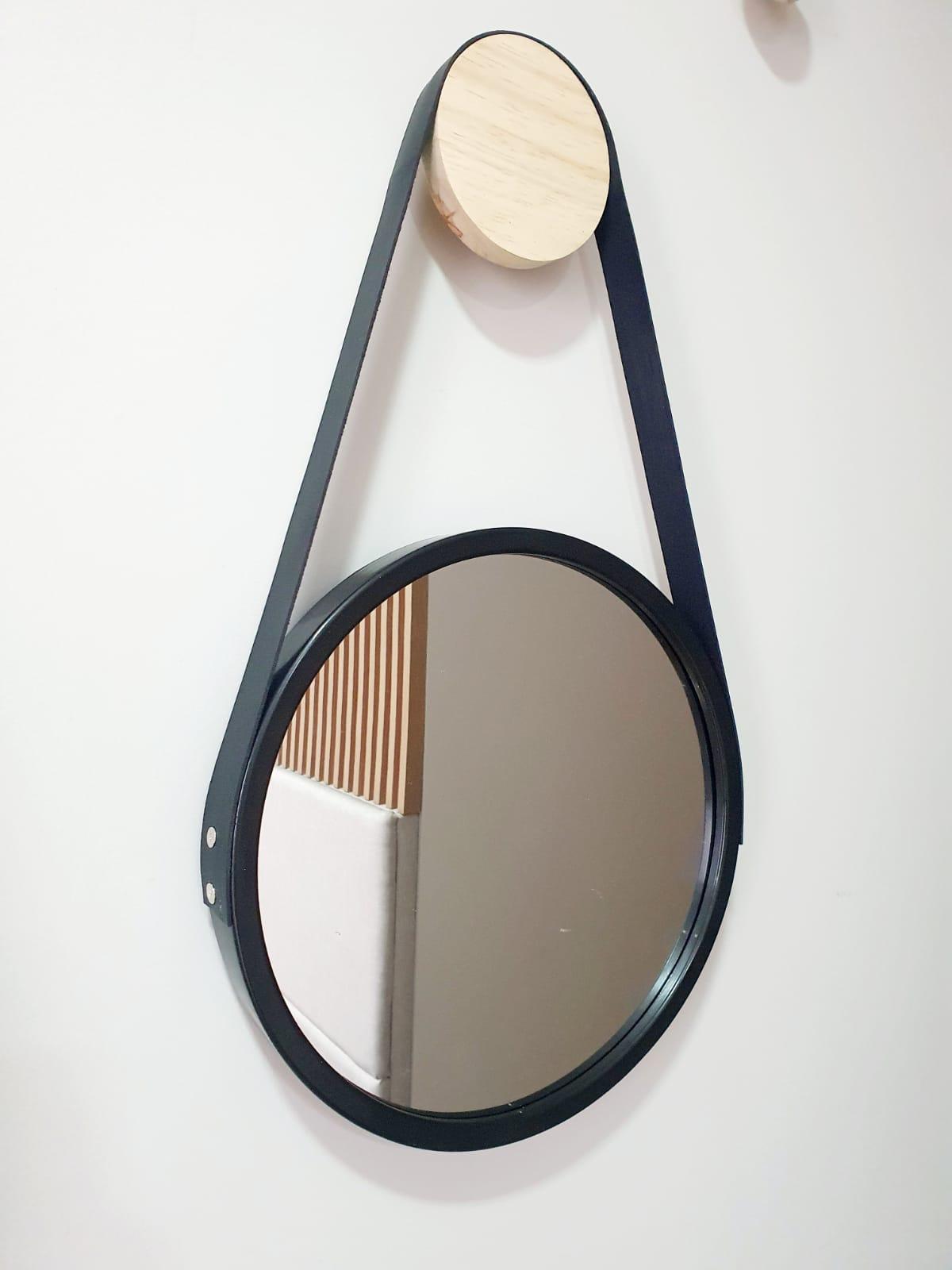 Espelho ADENET redondo 33cm - preto com alça de couro sintético