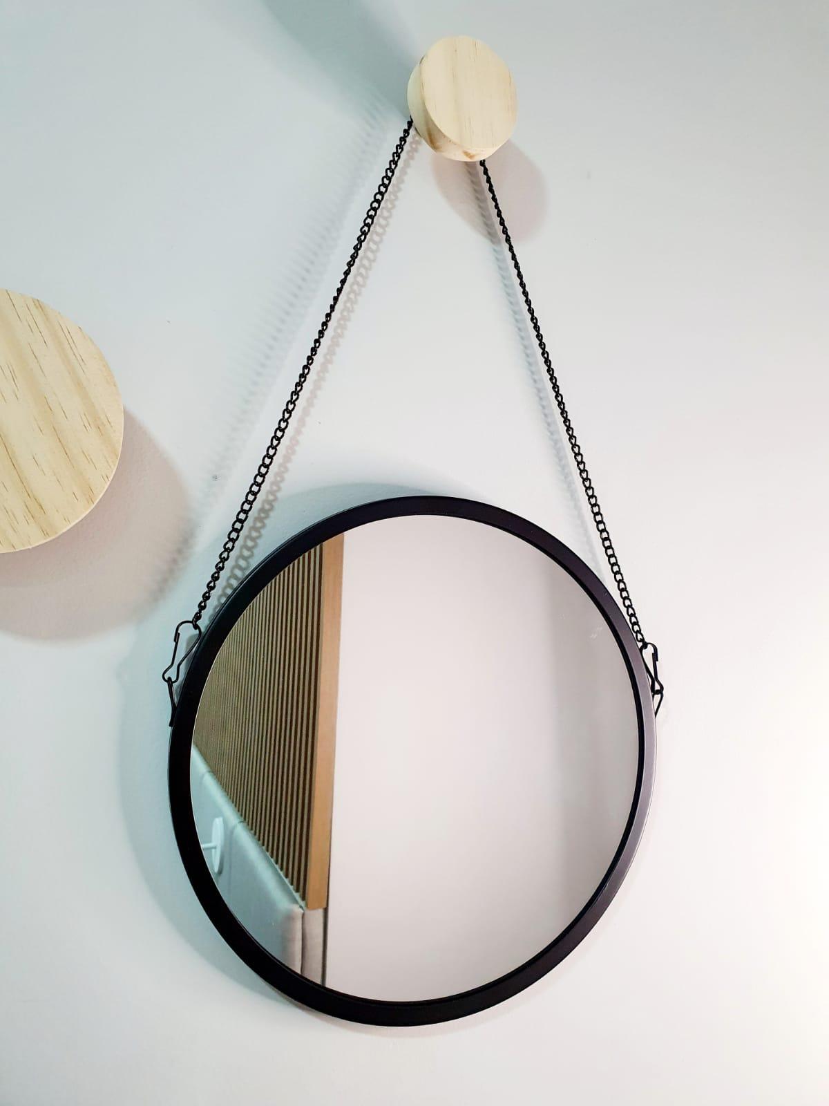 Espelho ADENET redondo com corrente 28cm