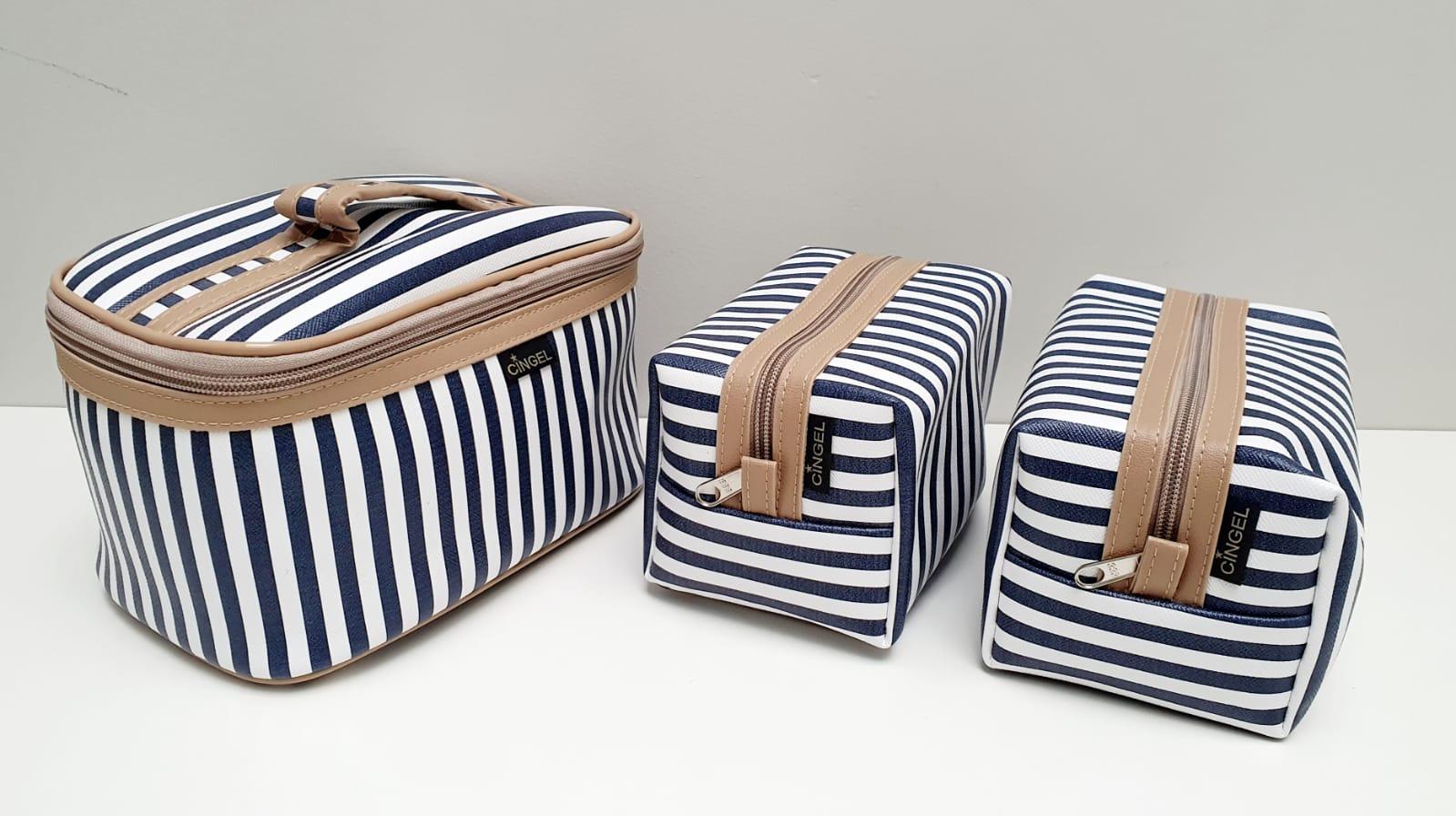 kit - Necessarie Elegance listrada azul marinho e branco - 3 peças