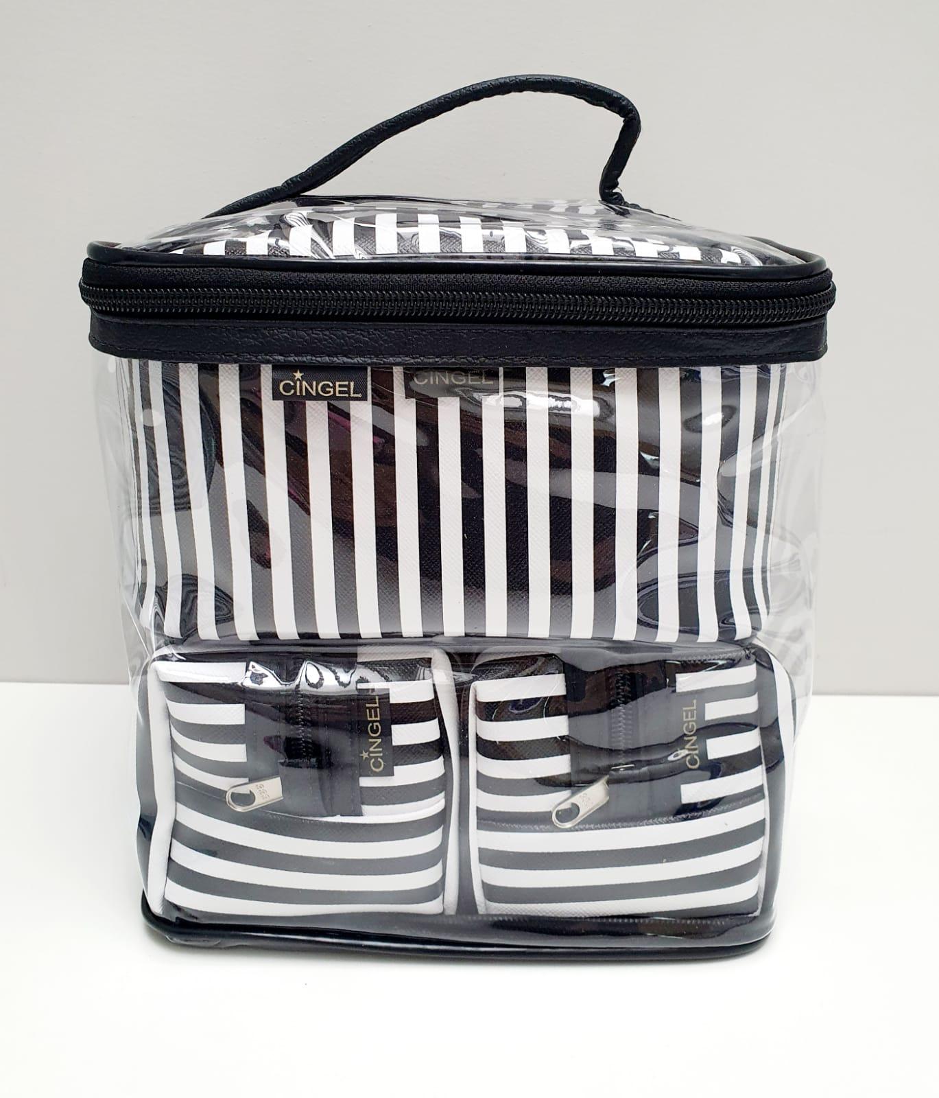 kit - Necessarie Elegance preta e branca - 3 peças