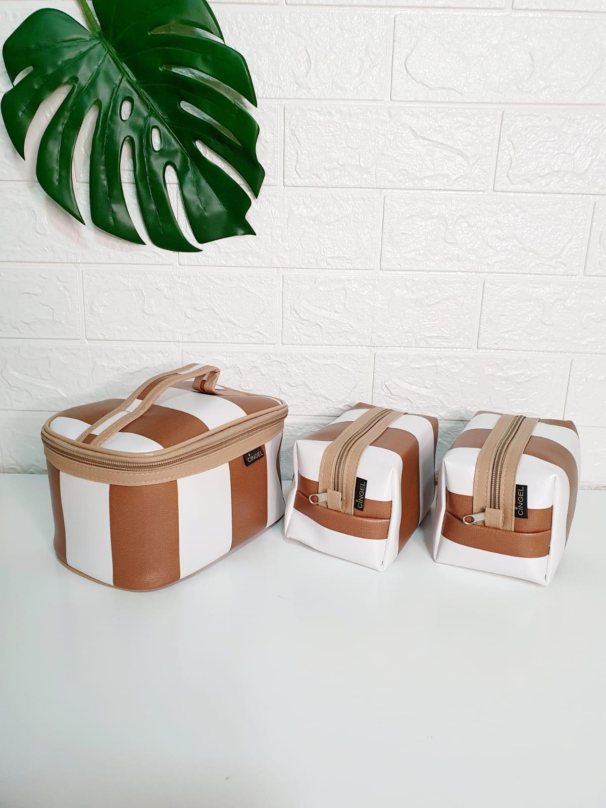 kit - Necessarie listrada pérola e caramelo - 3 peças