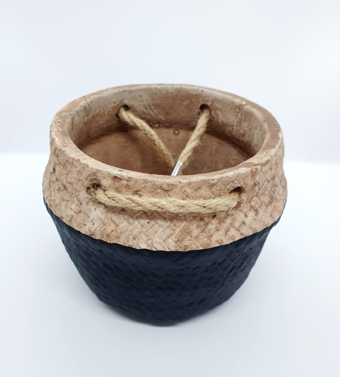Kit - Vasos decorativos de cimento c/ alças de corda - 2 peças