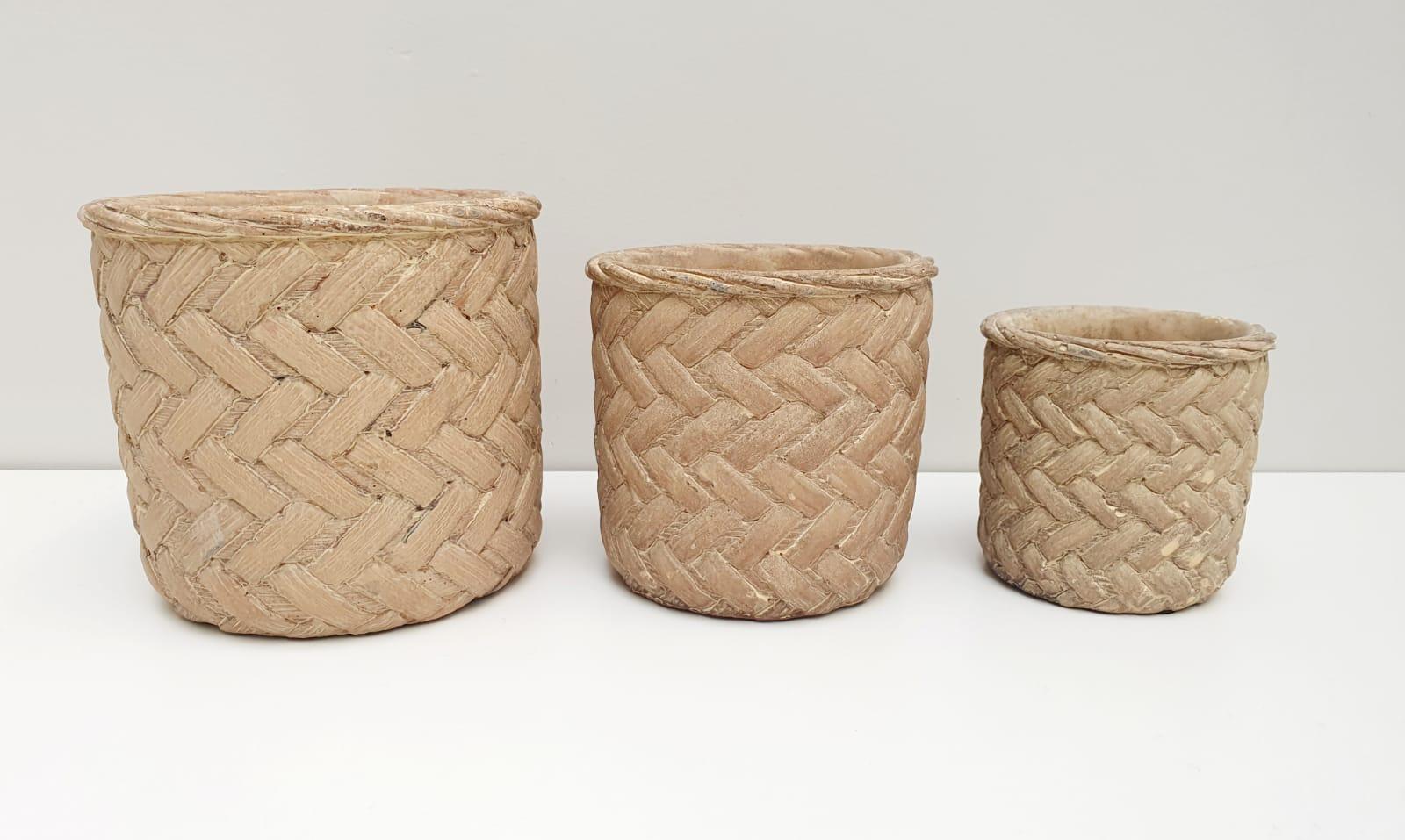 Kit - Vasos decorativos de cimento tramado - 3 peças