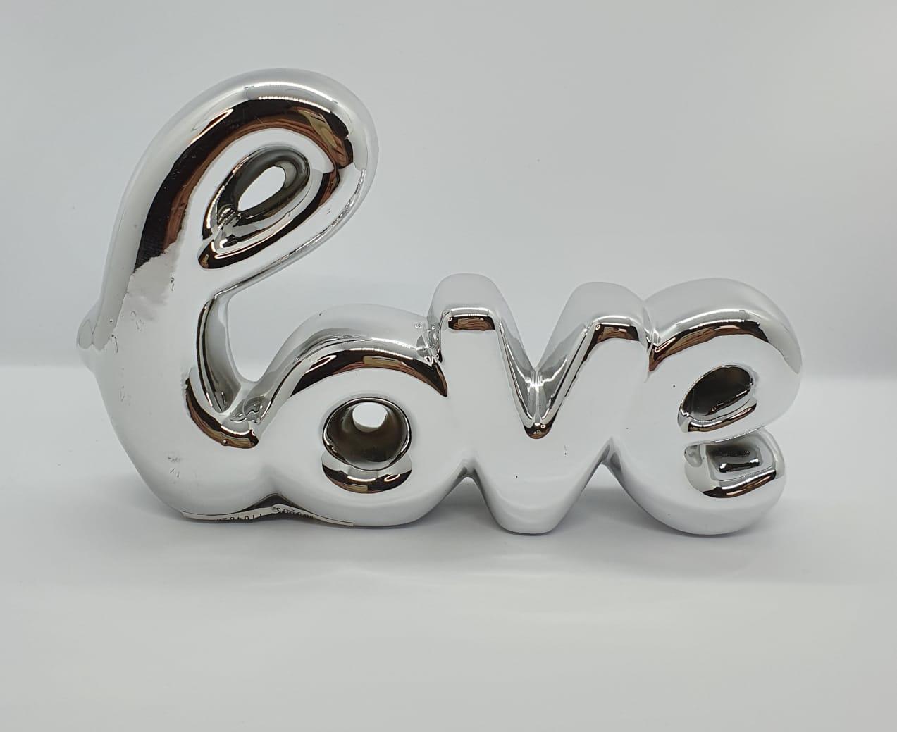 Love em cerâmica metalizado grande