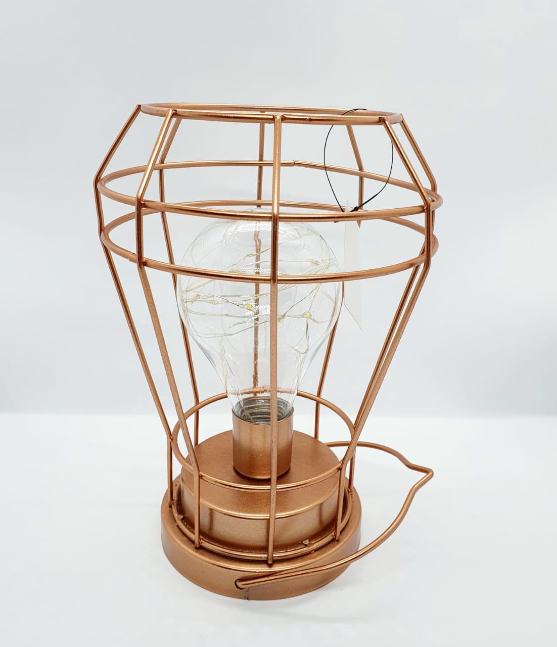 Luminária decorativa aramada cobre em metal