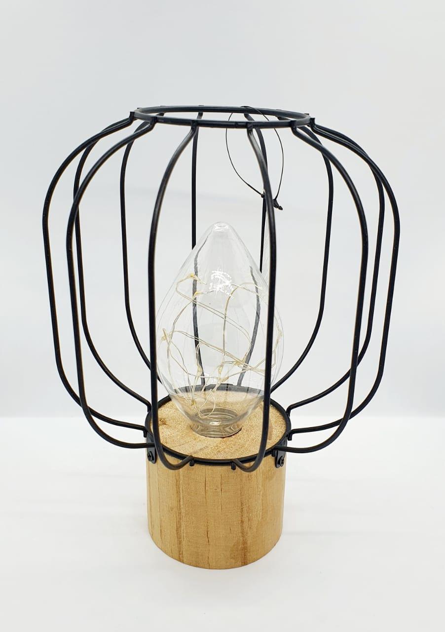 Luminária decorativa aramada preta em metal com madeira - circular