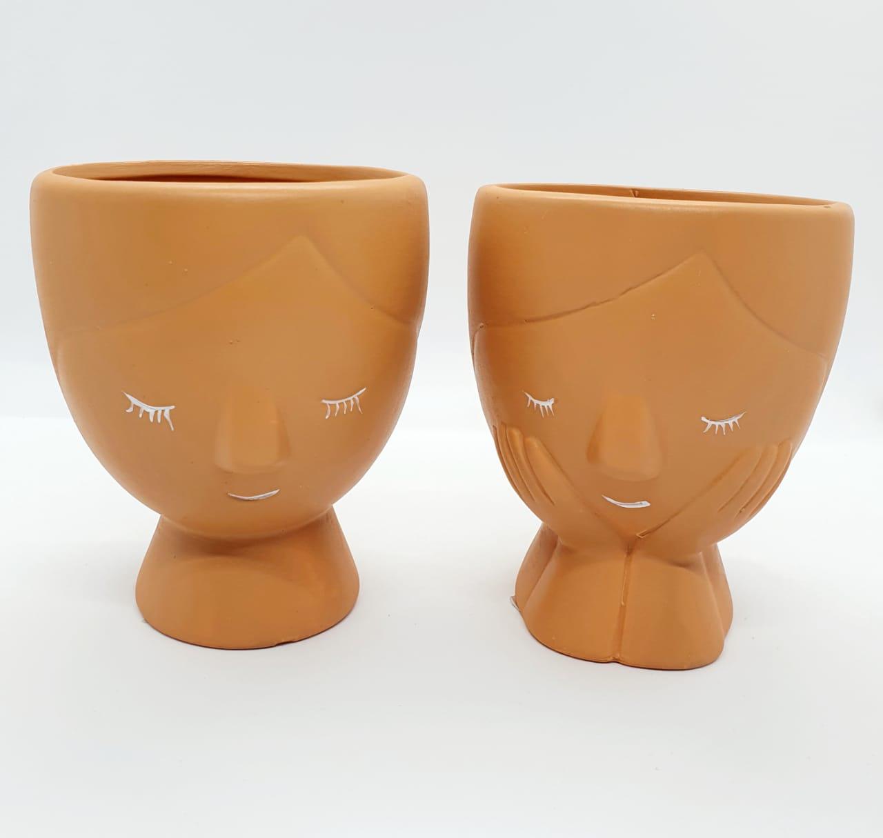 Par de cachepôs em cerâmica argila - médio