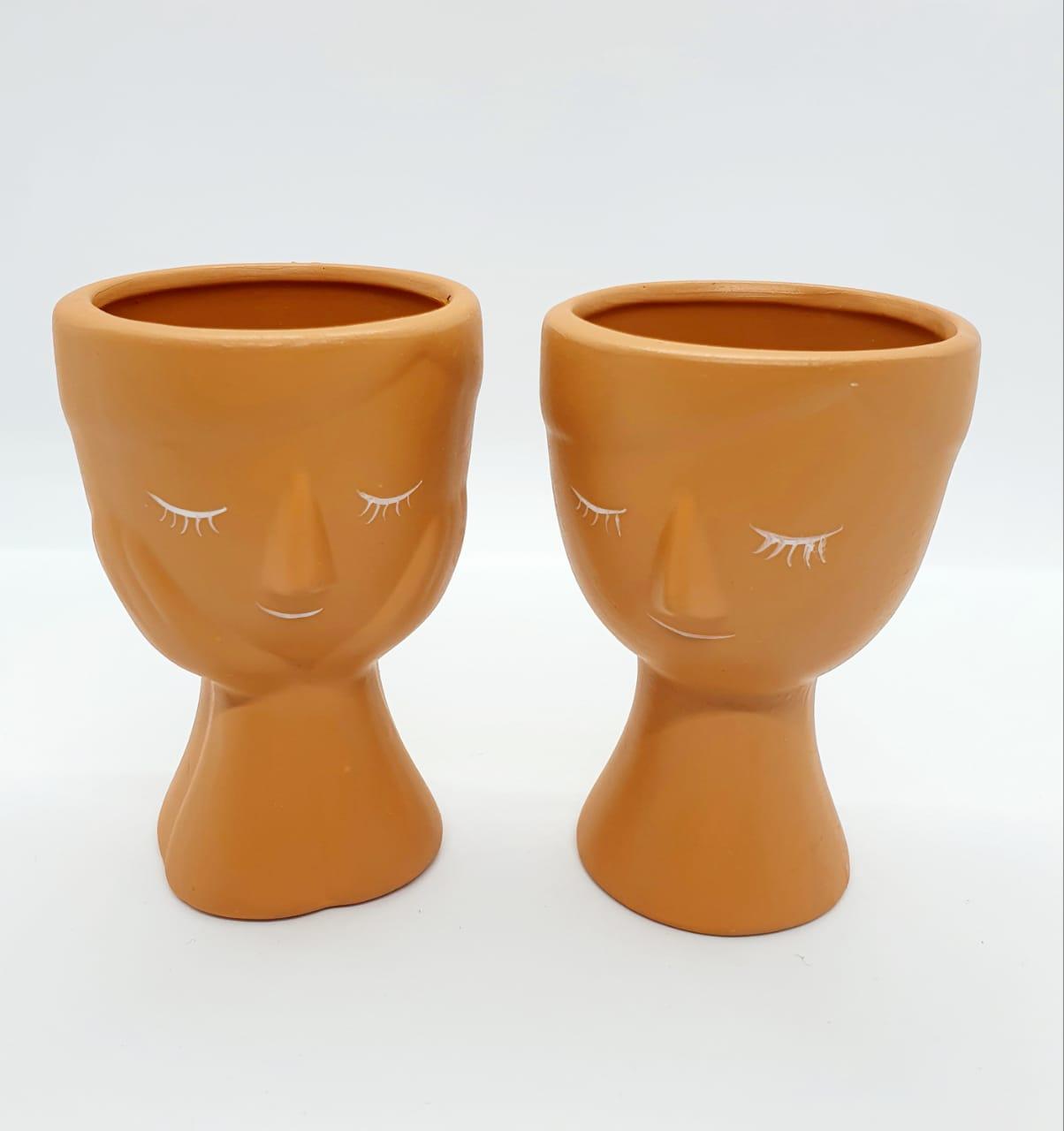 Par de cachepôs em cerâmica argila - pequeno