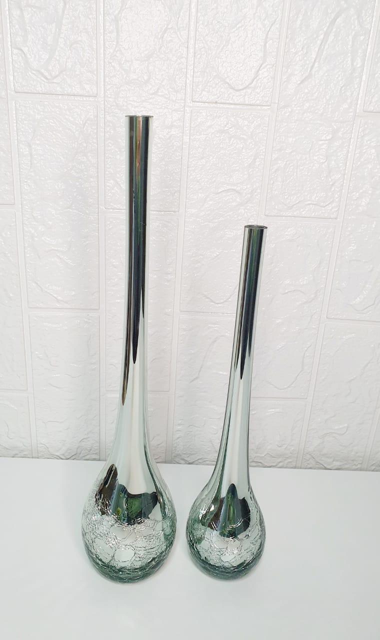 Par de vasos gota prata em craquelê  (2 peças)