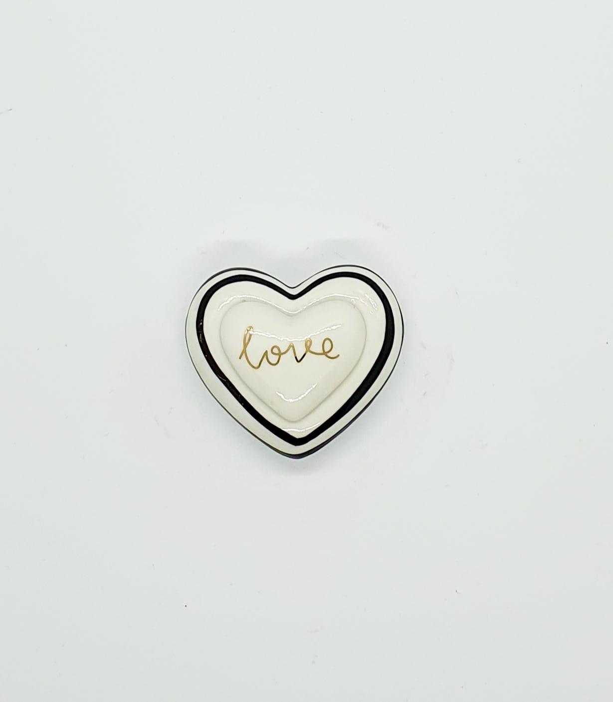 Porta joias coração em porcelana - Love