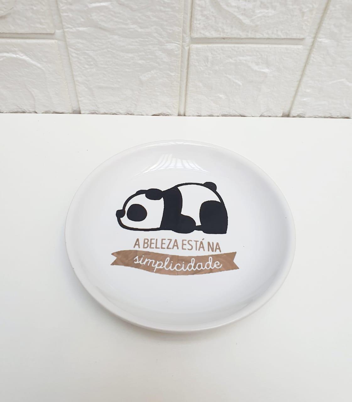 Porta joias redondo em porcelana Panda