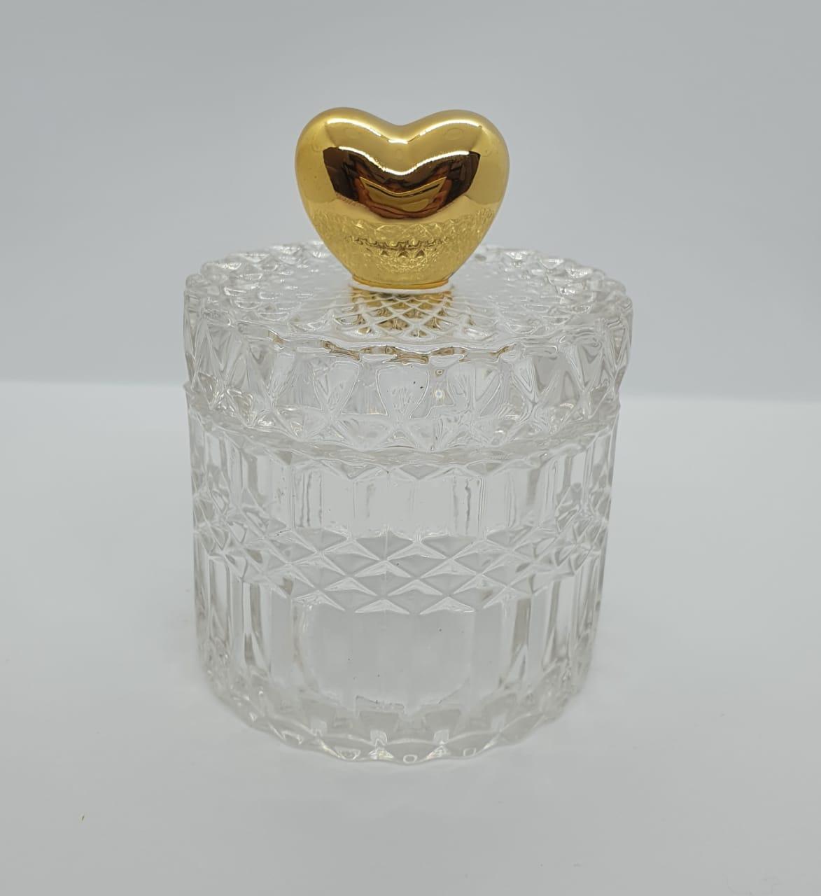 Porta joias redondo em vidro - Coração dourado