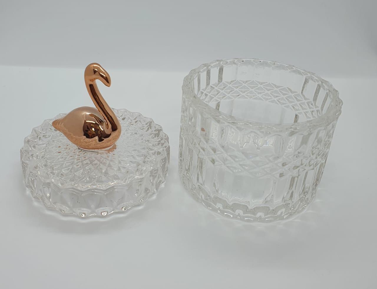 Porta joias redondo em vidro - Flamingo rese gold
