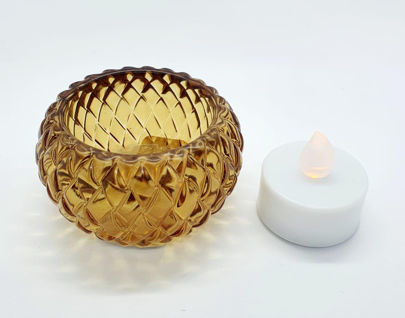 Porta velas âmbar em vidro