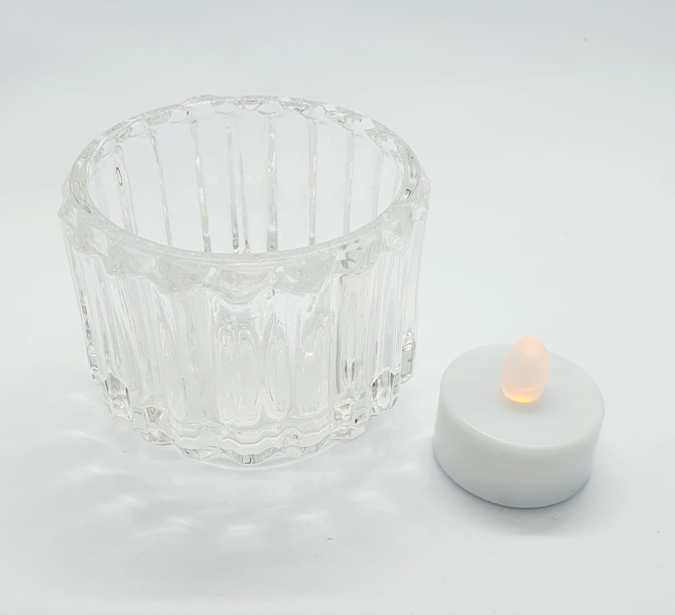 Porta velas transparente em vidro