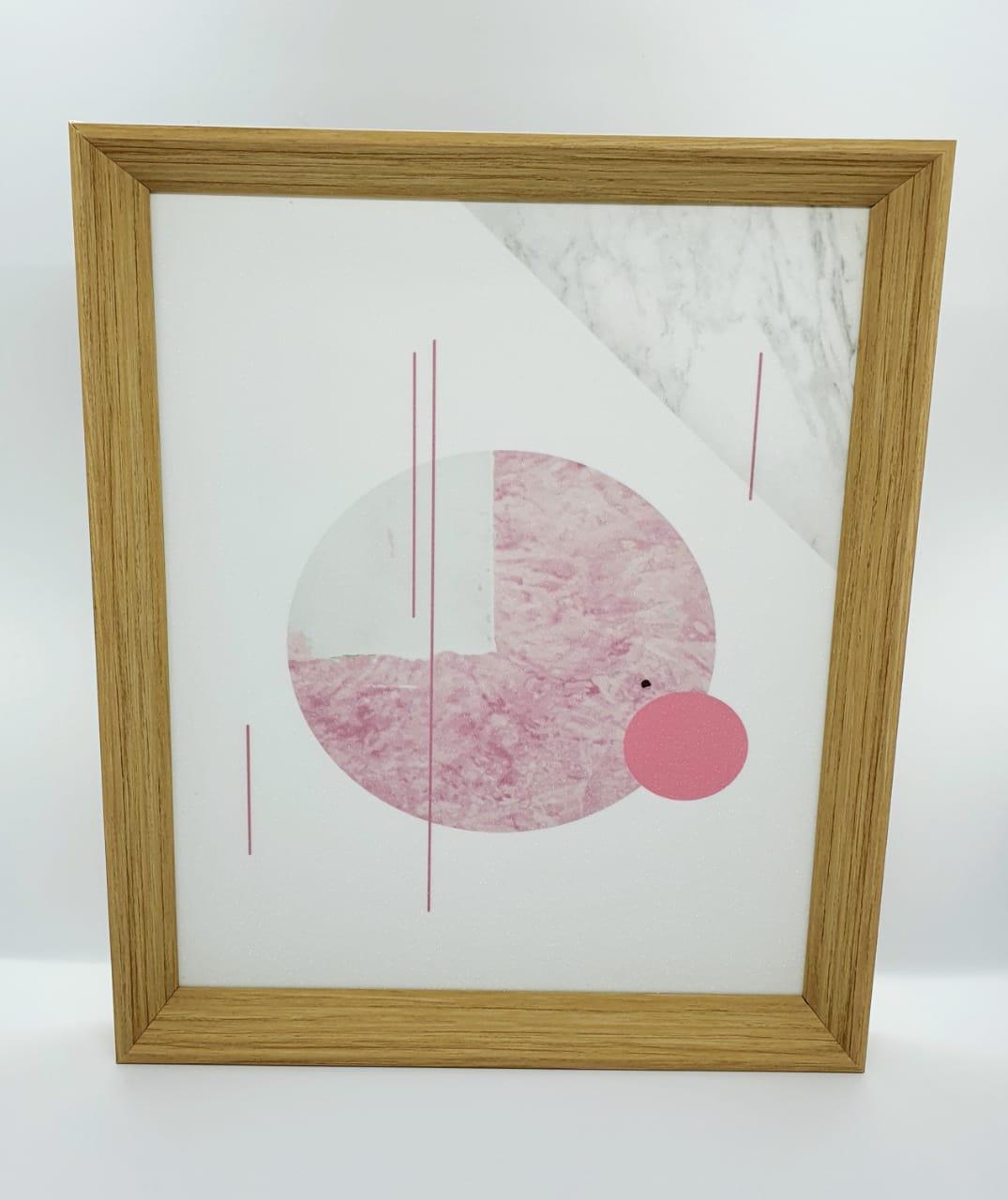 Quadro decorativo com moldura de plástico - Círculo rosa