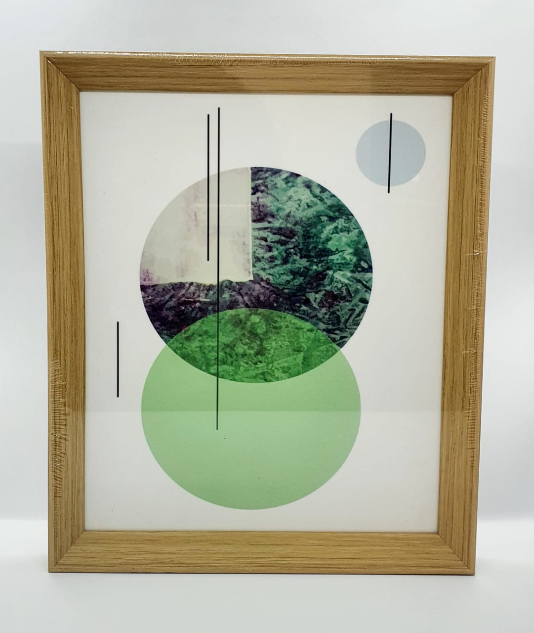Quadro decorativo com moldura de plástico - Círculo verde