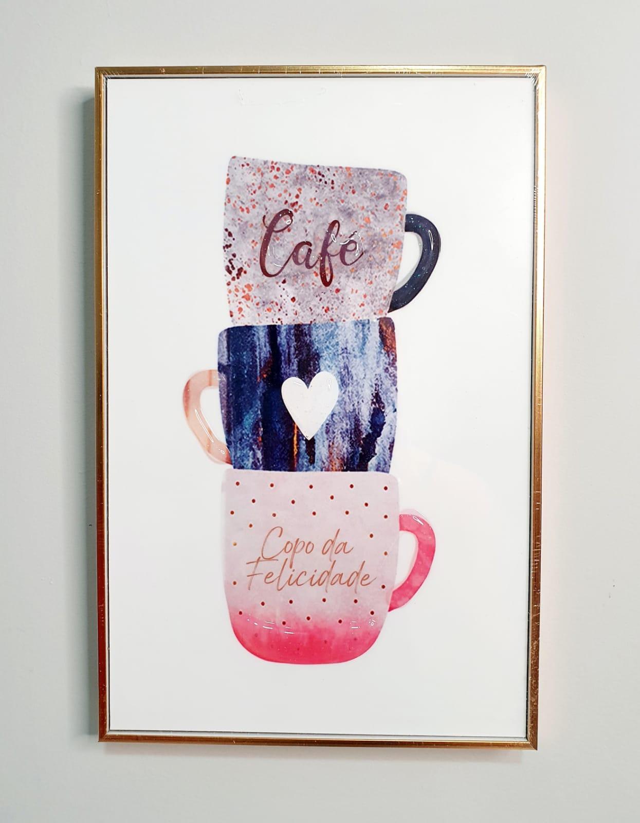 Quadro decorativo com moldura rose gold - Café Copo da felicidade.