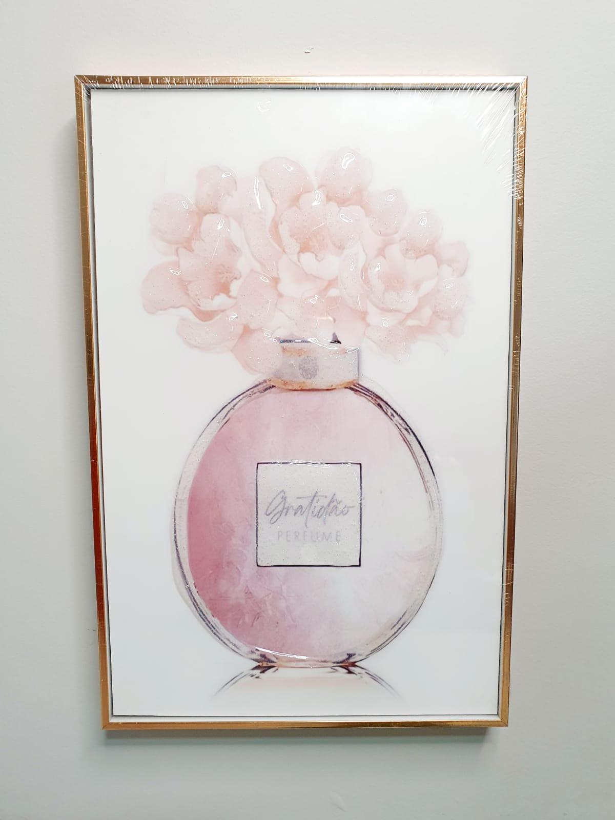Quadro decorativo com moldura rose gold- Gratidão perfume.