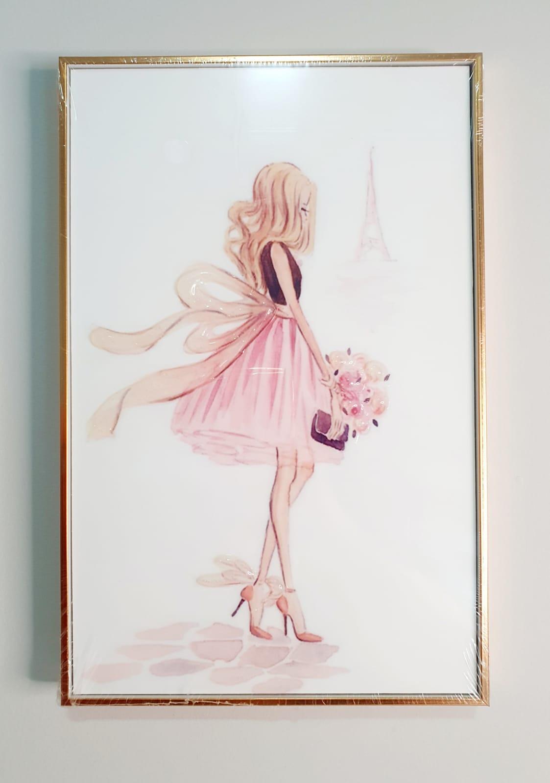 Quadro decorativo com moldura rose gold- Vestido com laço.