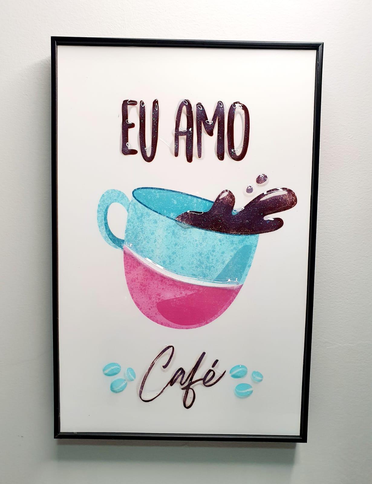Quadro decorativo - Eu amo café.