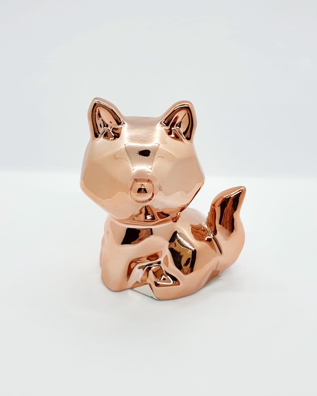 Raposa decorativa em cerâmica metalizada -rose gold