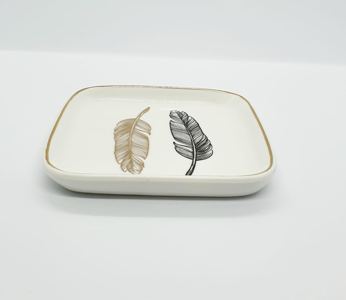 Suporte para joias em porcelana - pratinho 2 folhas