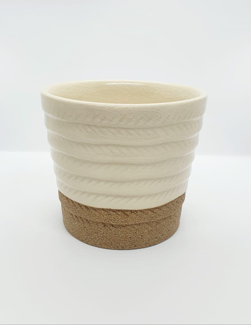 Vaso decorativo de cerâmica degraus areia bege