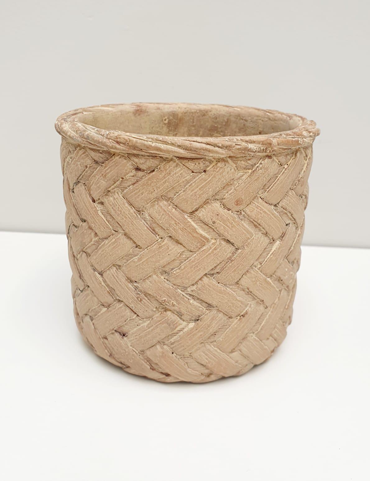 Vaso decorativo de cimento tramado bege - grande