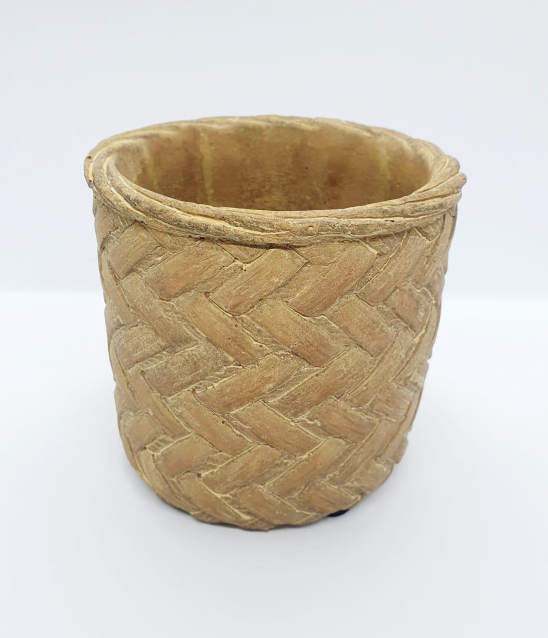 Vaso decorativo de cimento tramado bege - médio
