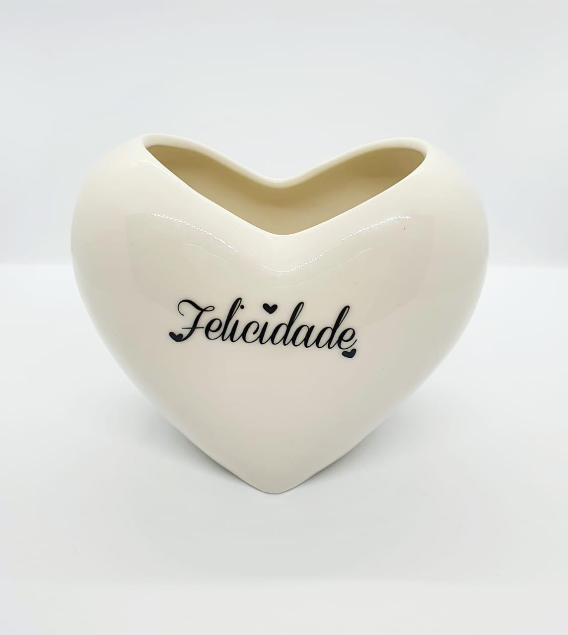 Vaso decorativo de resina formato de coração - Felicidade