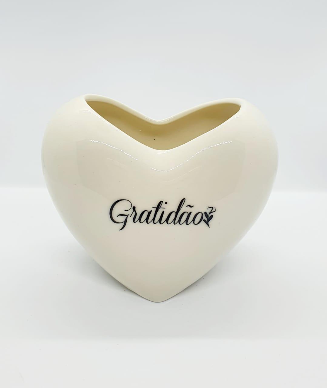 Vaso decorativo de resina formato de coração  - Gratidão