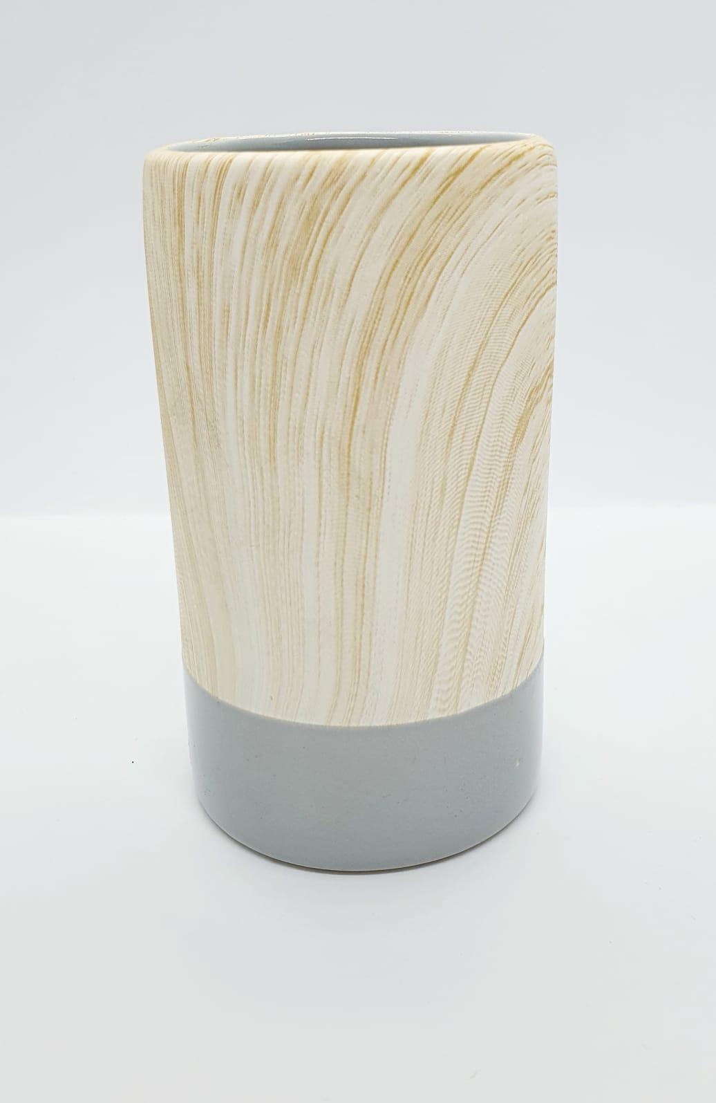 Vaso decorativo em porcelana marmorizado colors - cinza
