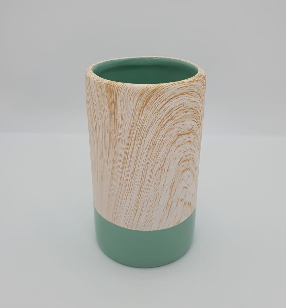 Vaso decorativo em porcelana marmorizado colors - verde
