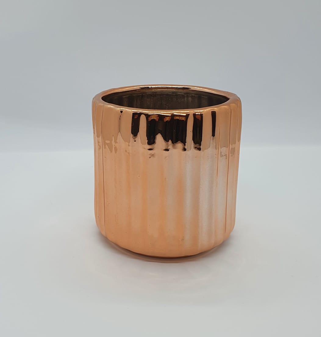 Vaso em cerâmica canelado - cobre