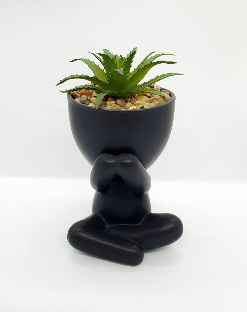 Vaso Mini Bob preto c/ planta - gratidão