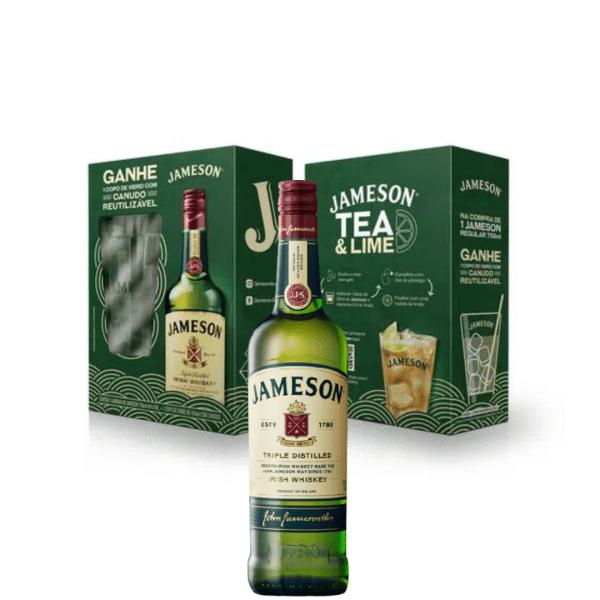 KIT WHISKY JAMESON 8 ANOS 750ml + 1 Copo de Vidro com Canudo Reutilizável