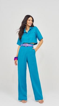 Conjunto Camisa e Calça Linho Azul