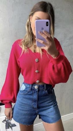 Shorts Jeans Detalhe Botão