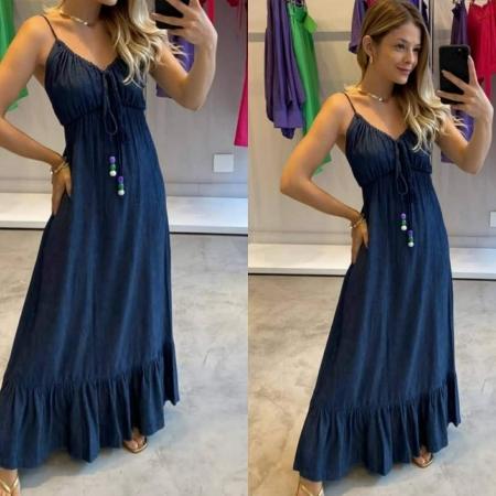 Vestido Jeans Alcinha