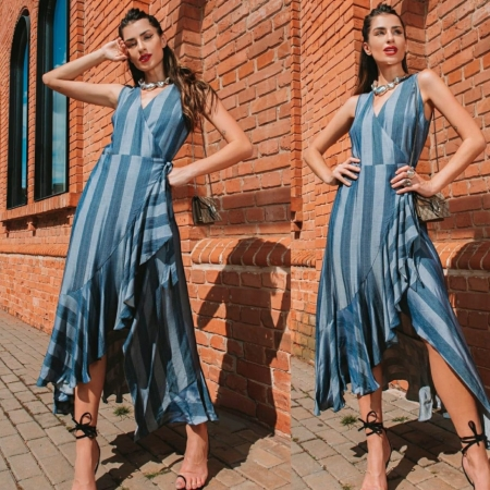Vestido Transpassado Azul